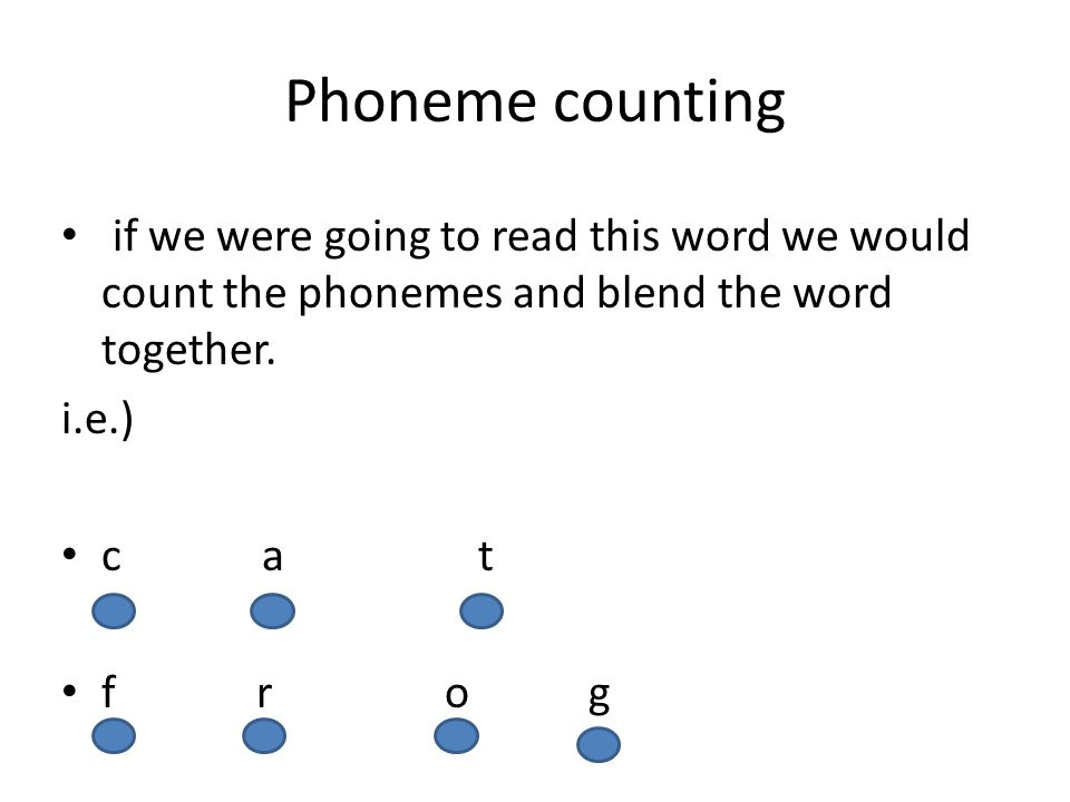 Phoneme counting if we were going to read this word we would count the phonemes and blend the word together.