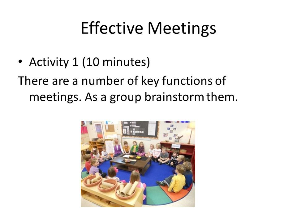 Effective Meetings Activity 1 (10 minutes)