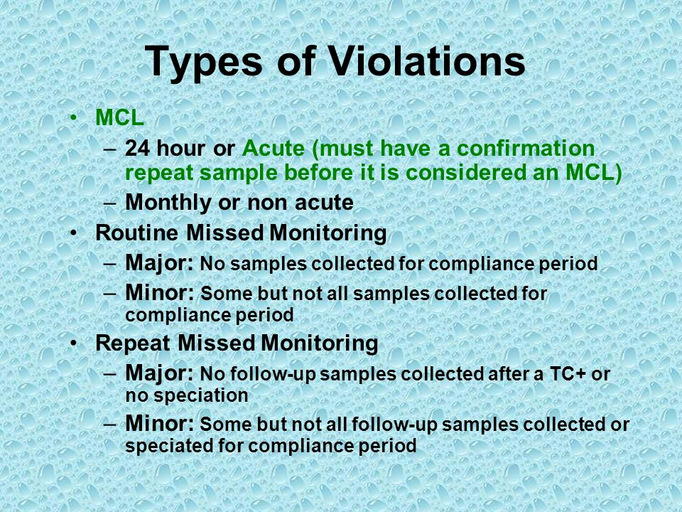 Types of Violations MCL