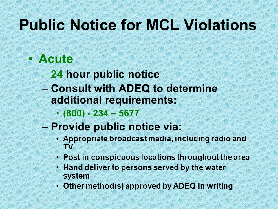 Public Notice for MCL Violations