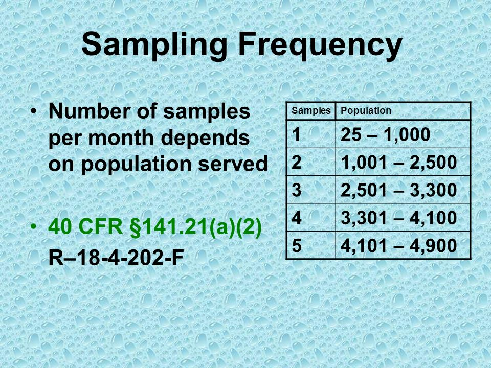 Sampling Frequency Number of samples per month depends on population served. 40 CFR §141.21(a)(2) R–18-4-202-F.
