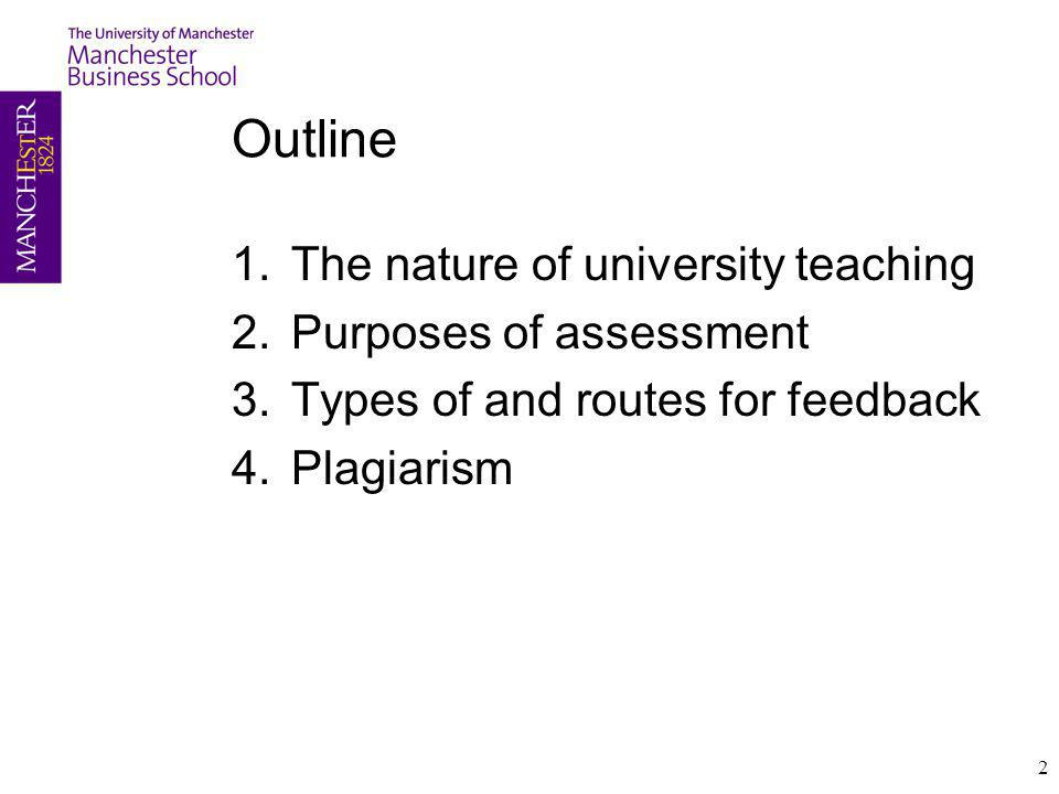 Outline The nature of university teaching Purposes of assessment