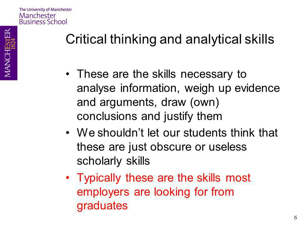 Critical thinking and analytical skills