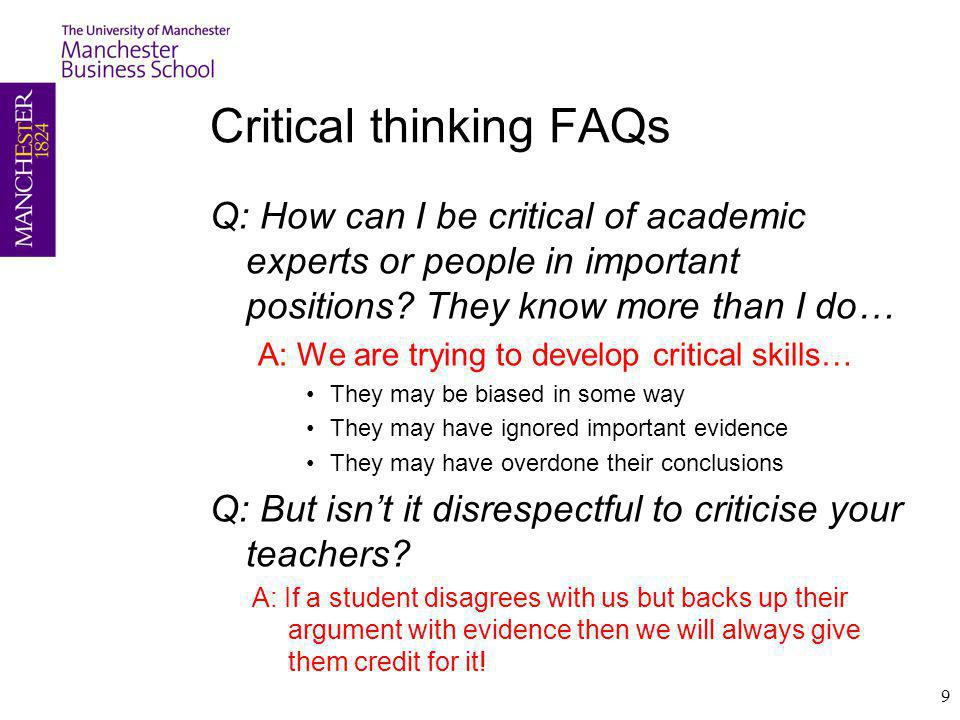 Critical thinking FAQs