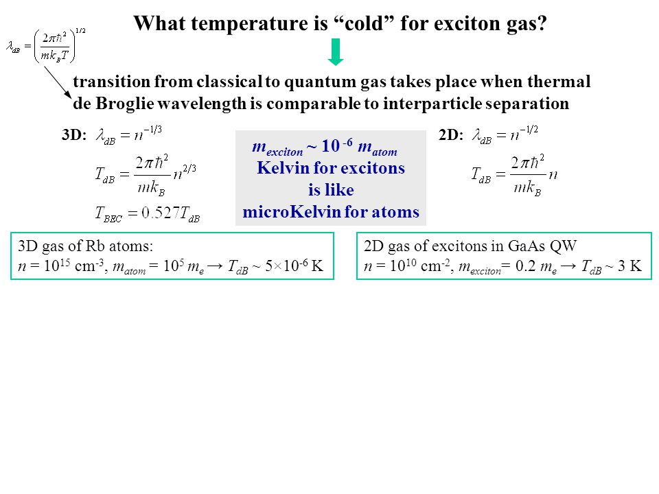 What temperature is cold for exciton gas