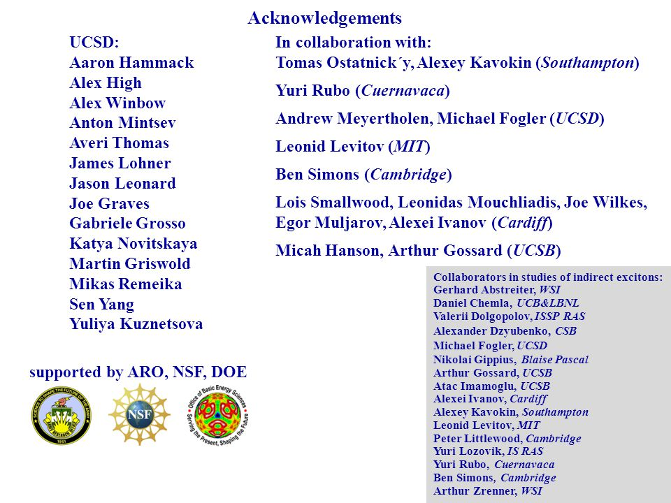 Acknowledgements UCSD: Aaron Hammack Alex High Alex Winbow