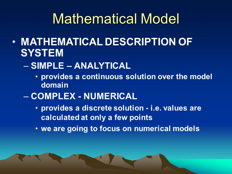 Mathematical Model MATHEMATICAL DESCRIPTION OF SYSTEM