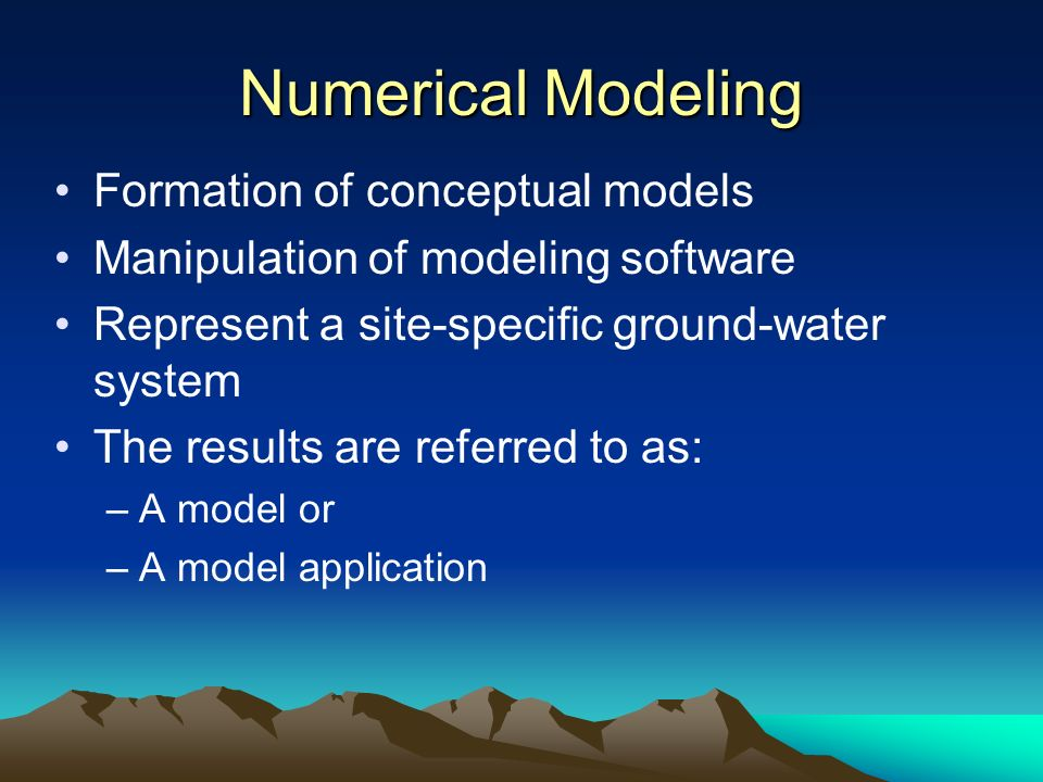 Numerical Modeling Formation of conceptual models