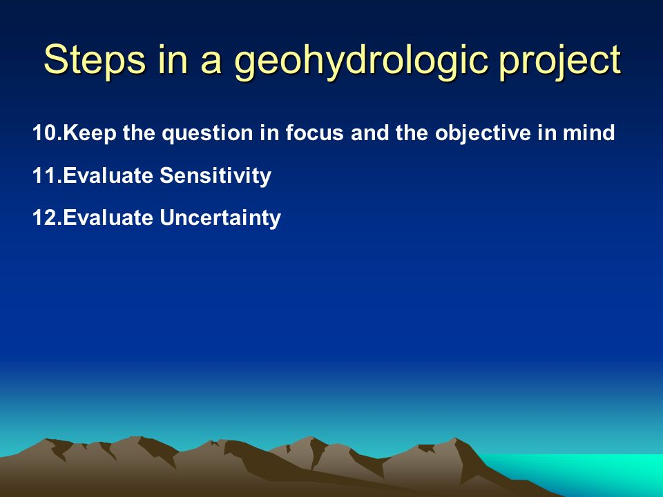 Steps in a geohydrologic project