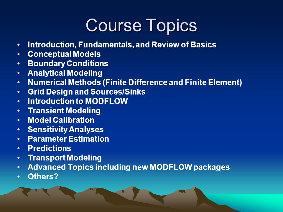 Course Topics Introduction, Fundamentals, and Review of Basics