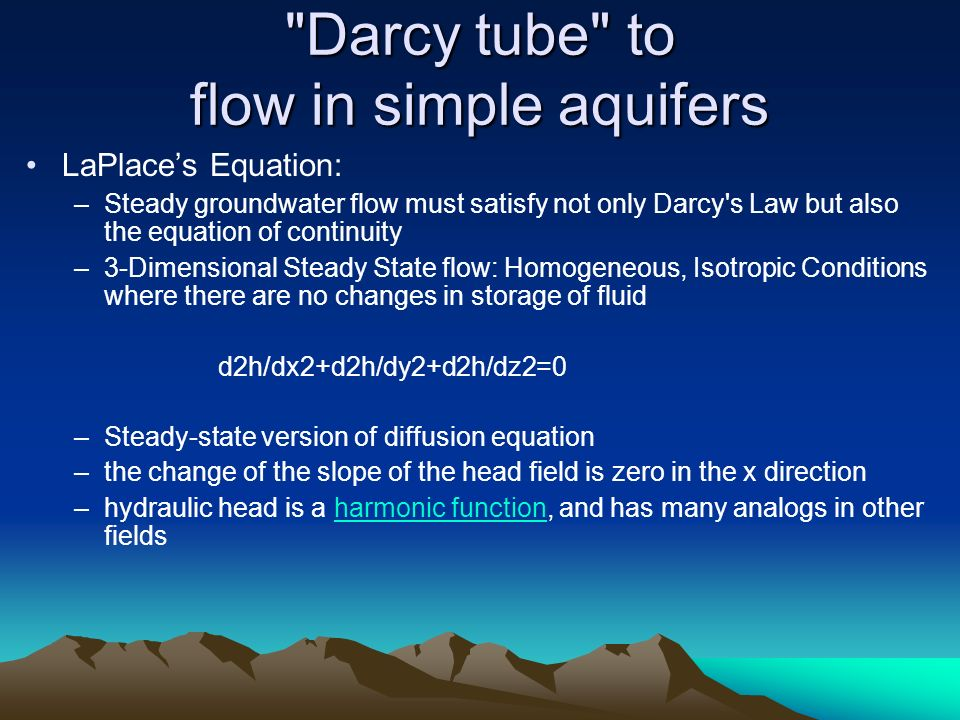 Darcy tube to flow in simple aquifers