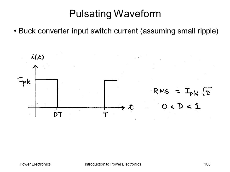 Pulsating Waveform Buck converter input switch current (assuming small ripple) Power Electronics