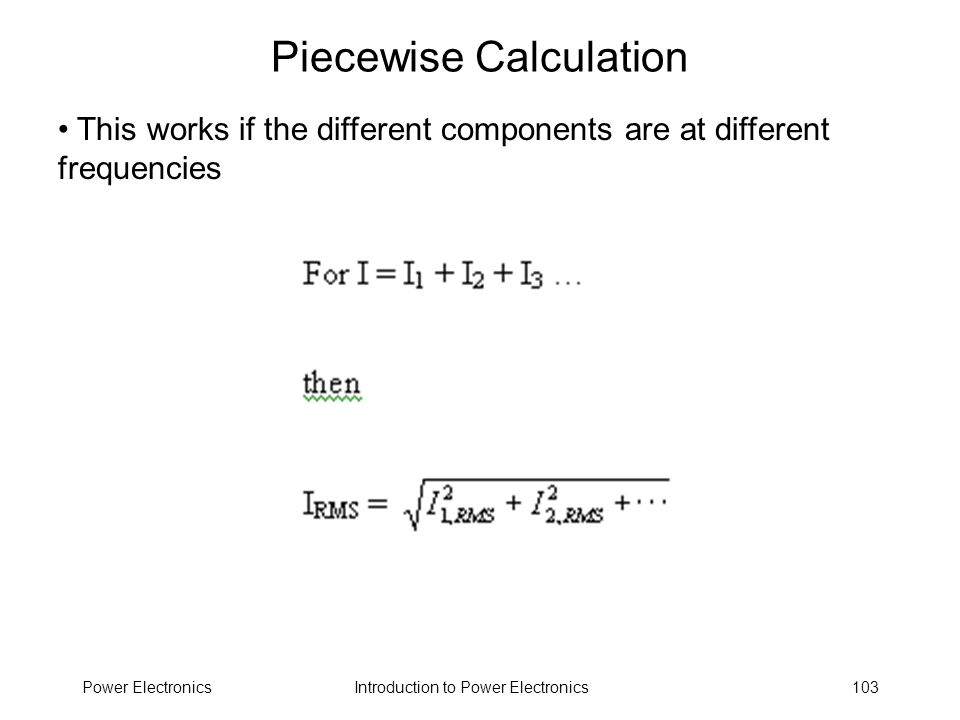 Piecewise Calculation