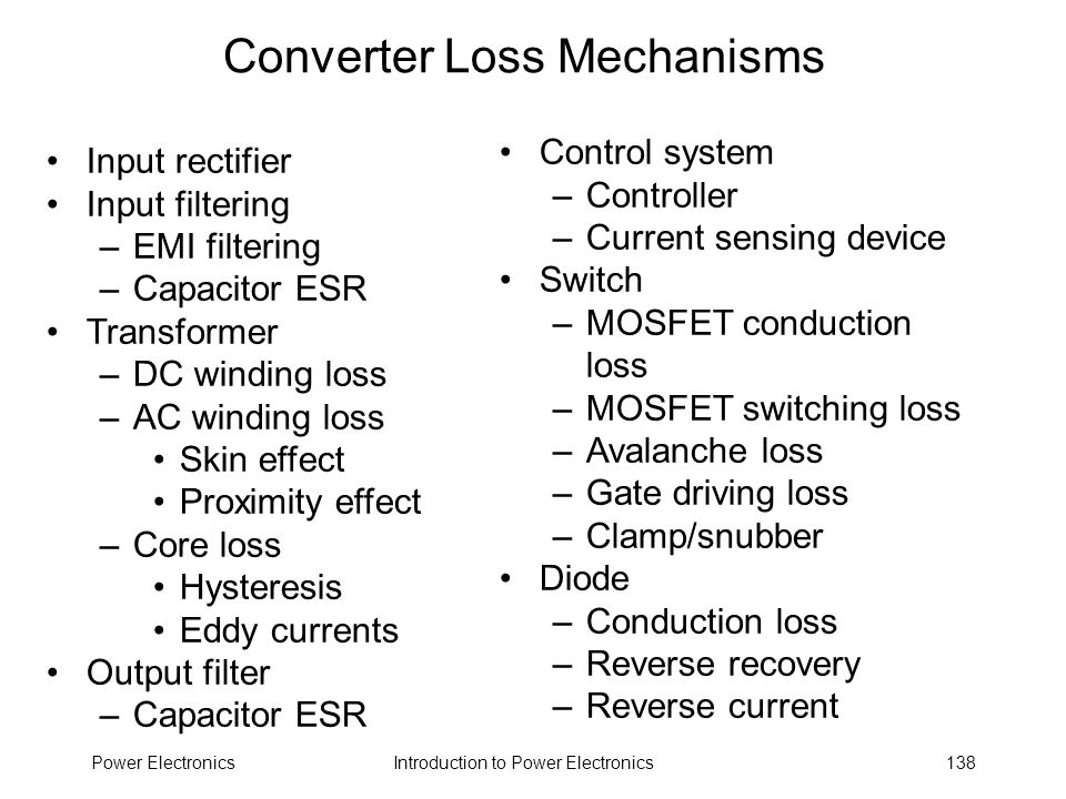 Converter Loss Mechanisms