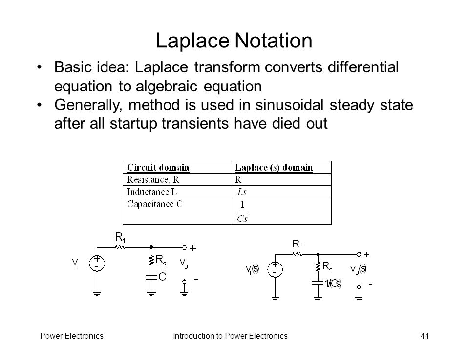 Laplace Notation Basic idea: Laplace transform converts differential equation to algebraic equation.