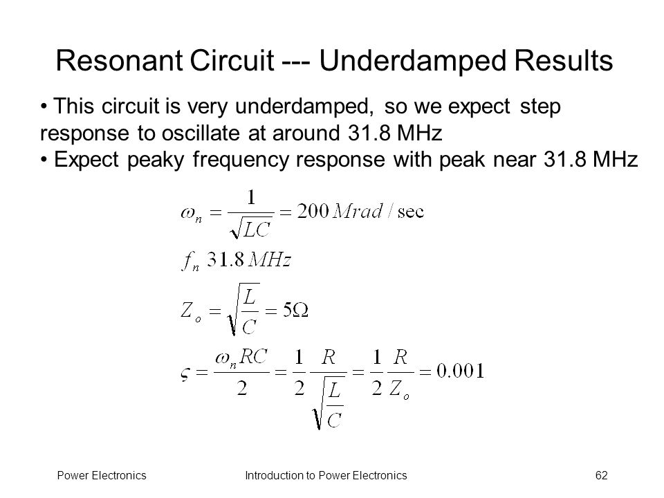 Resonant Circuit --- Underdamped Results