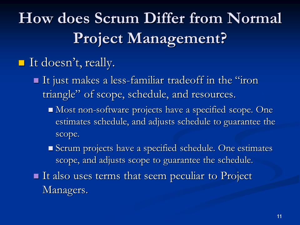 How does Scrum Differ from Normal Project Management