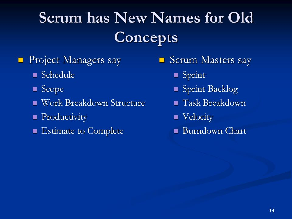 Scrum has New Names for Old Concepts
