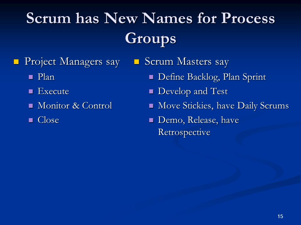 Scrum has New Names for Process Groups