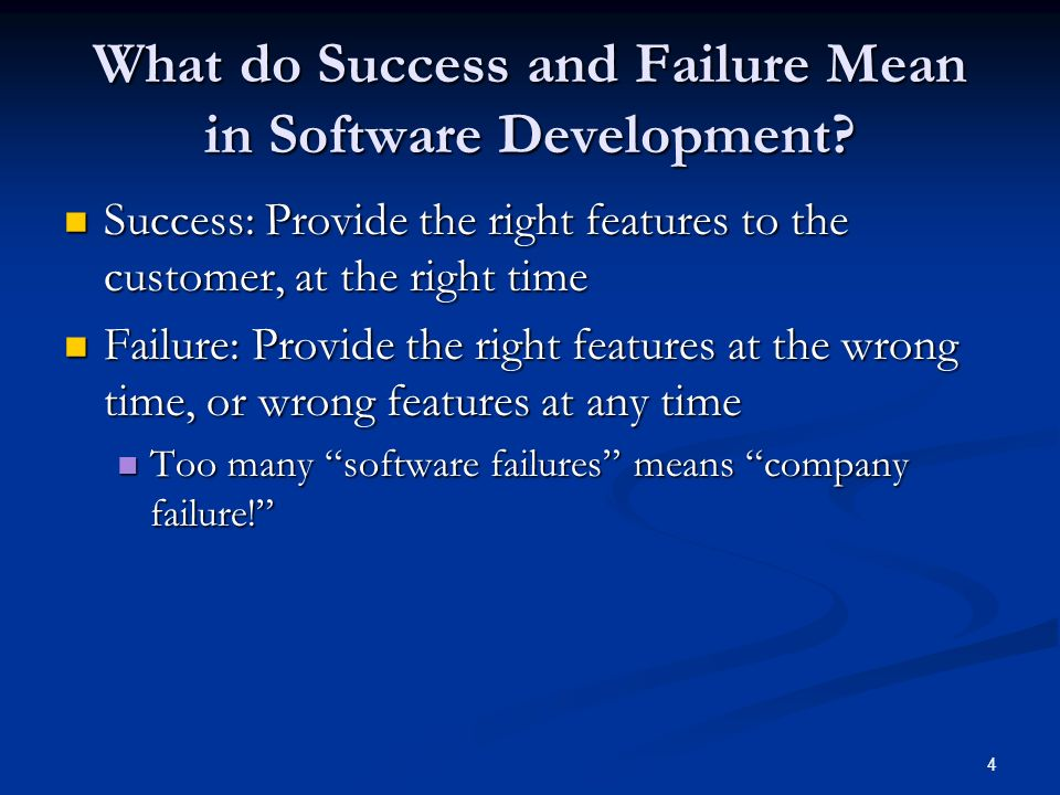 What do Success and Failure Mean in Software Development