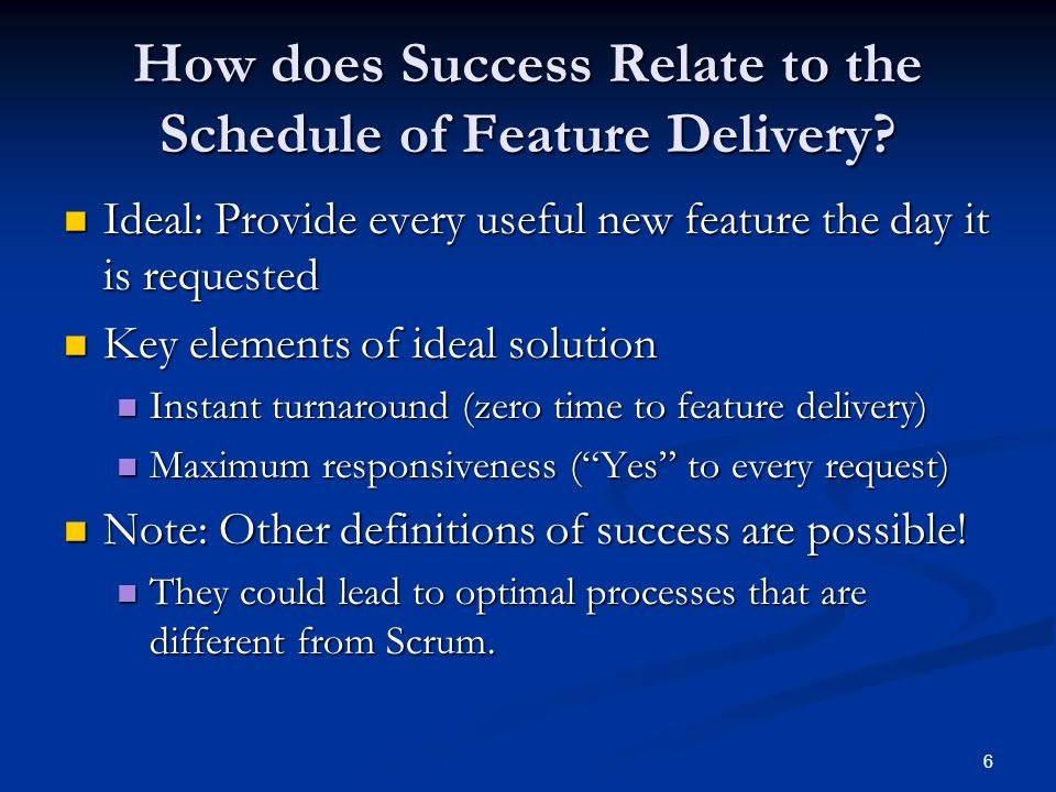 How does Success Relate to the Schedule of Feature Delivery