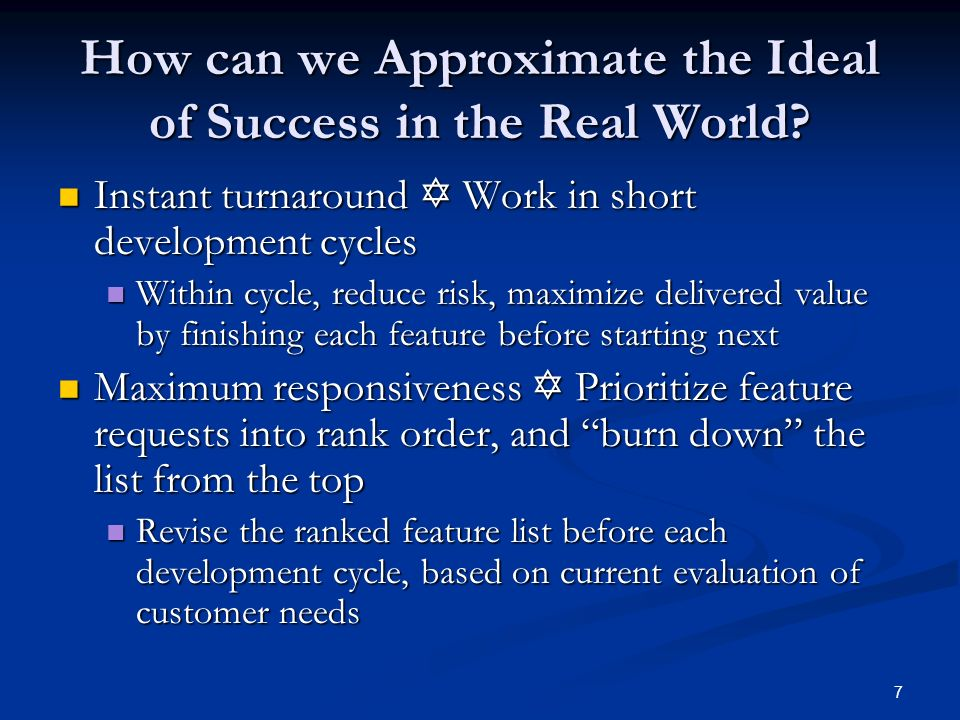 How can we Approximate the Ideal of Success in the Real World