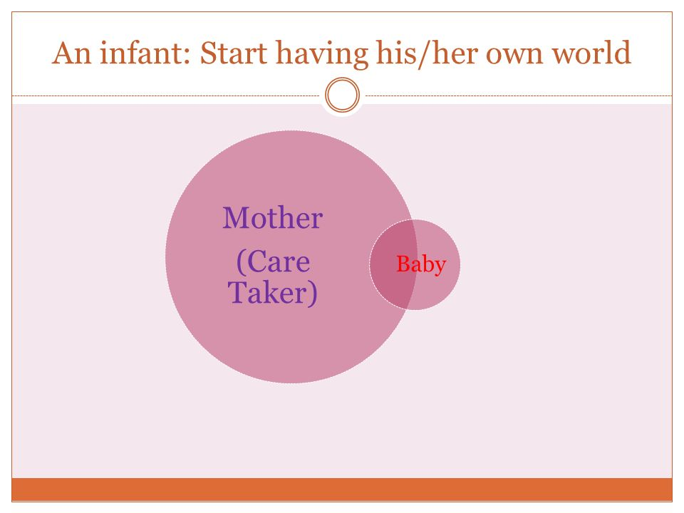 An infant: Start having his/her own world