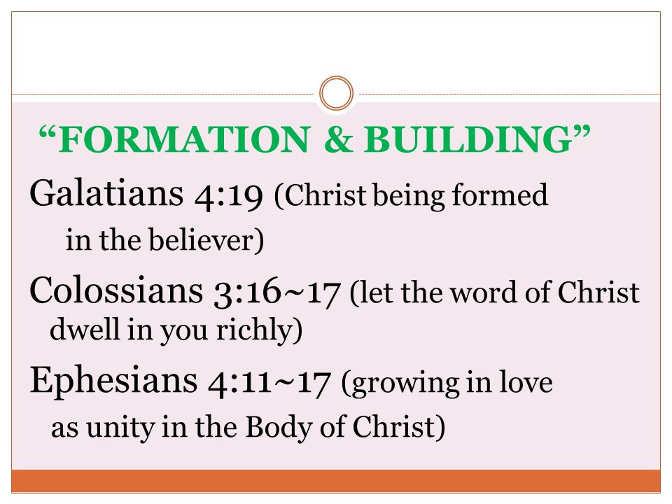 FORMATION & BUILDING Galatians 4:19 (Christ being formed