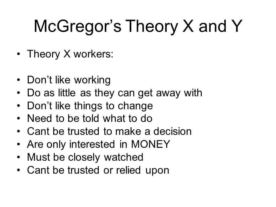 mcgregor theory x and y