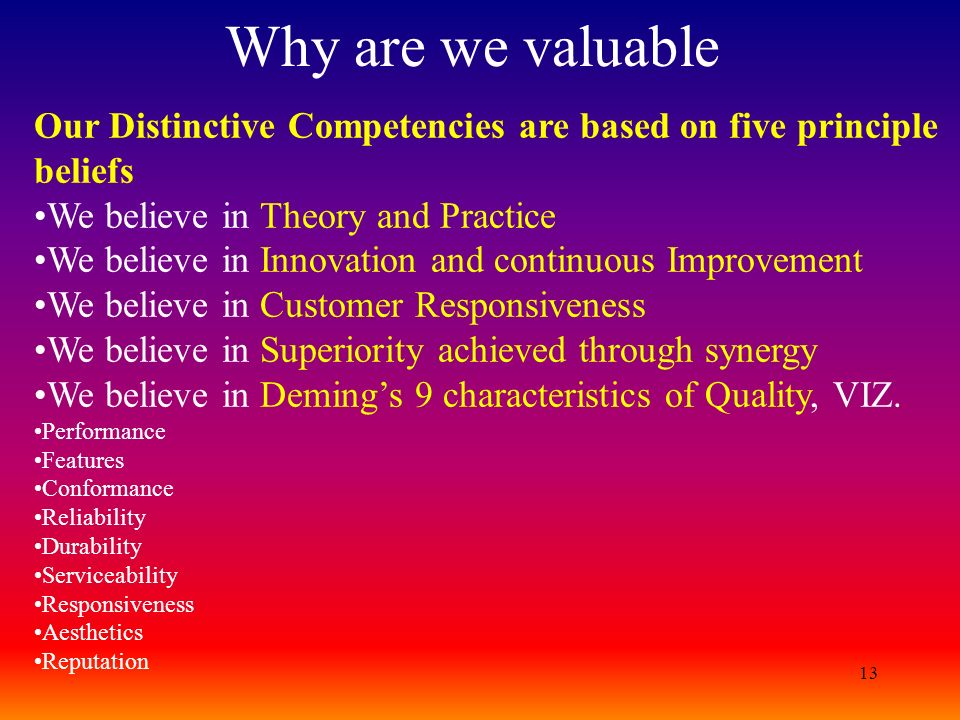 Why are we valuable Our Distinctive Competencies are based on five principle beliefs. We believe in Theory and Practice.