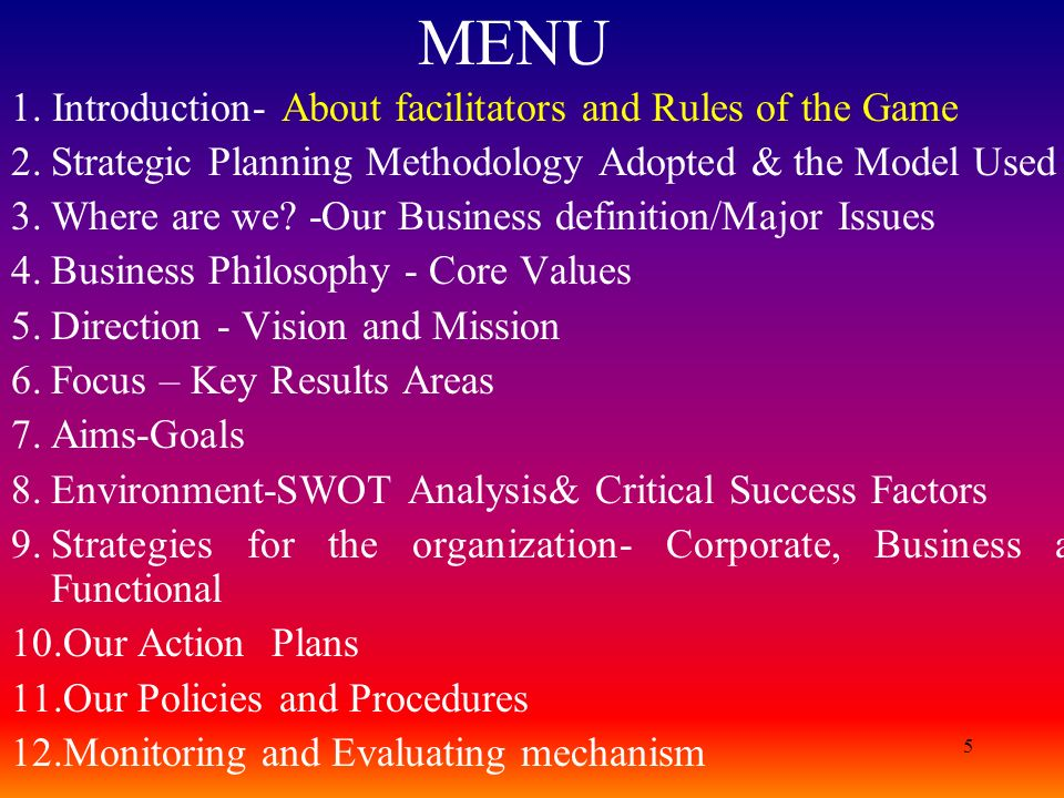 MENU 1. Introduction- About facilitators and Rules of the Game