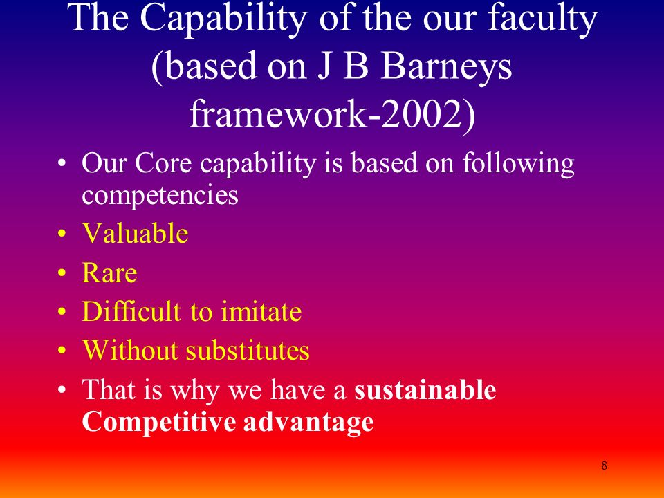 The Capability of the our faculty (based on J B Barneys framework-2002)