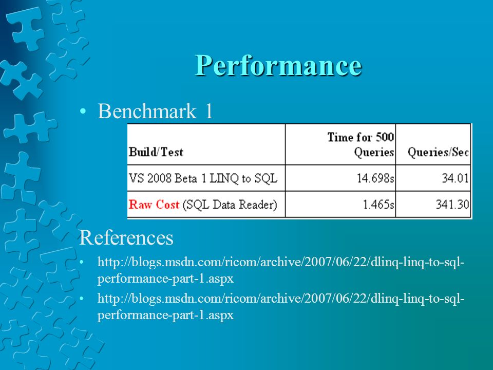 Performance Benchmark 1 References
