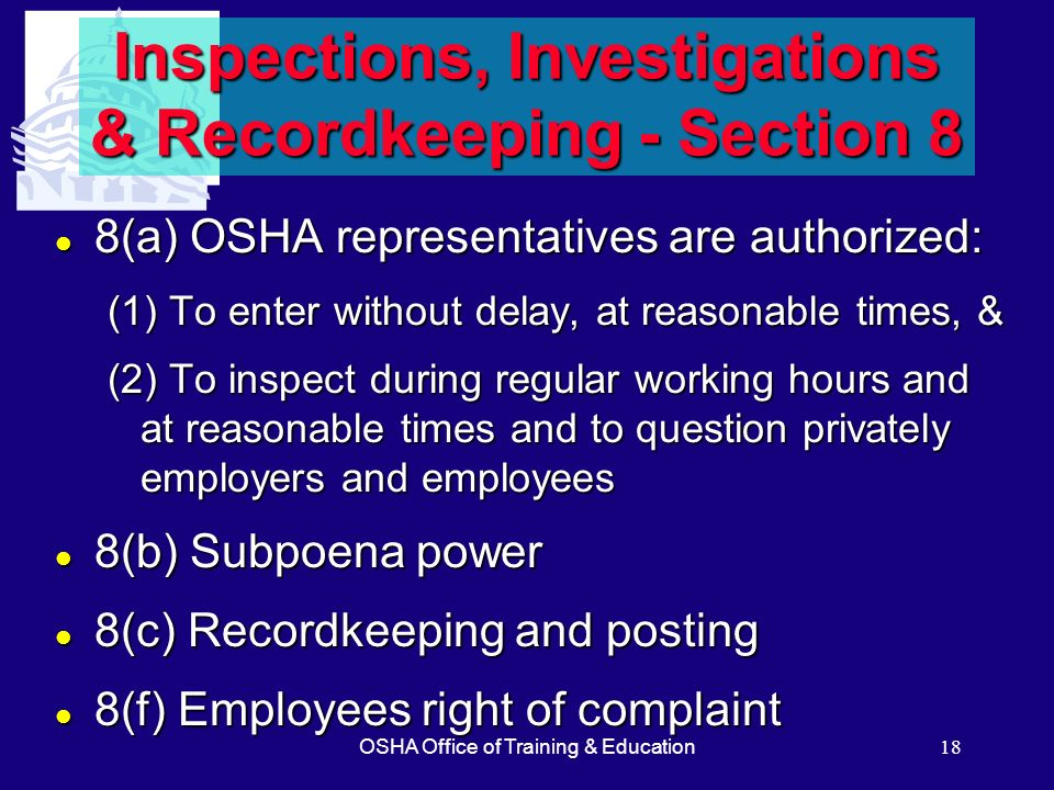 Inspections, Investigations & Recordkeeping - Section 8