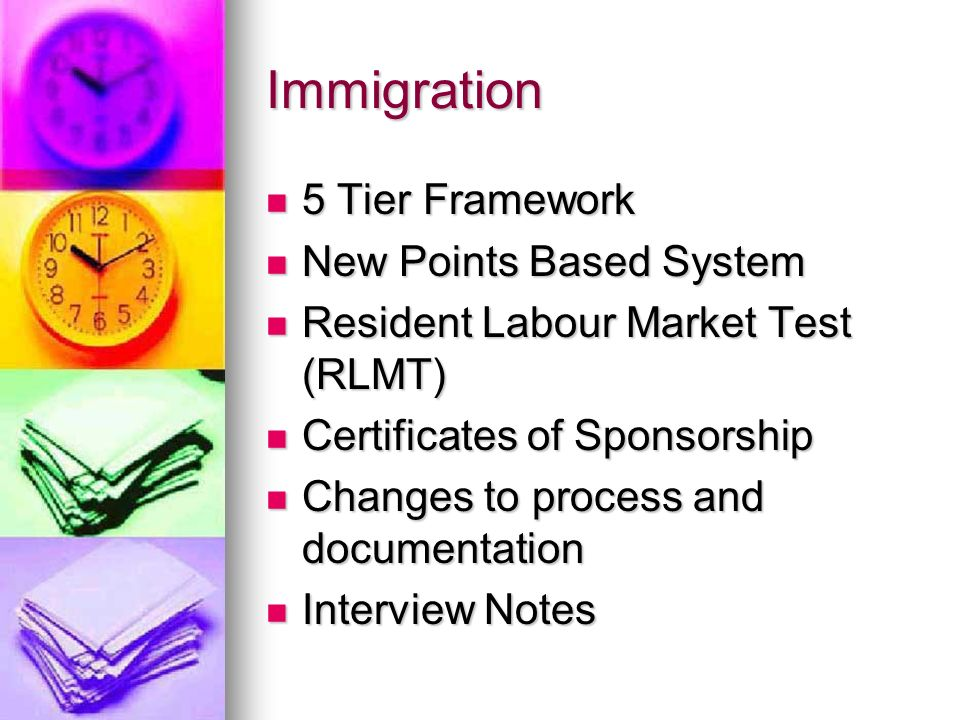 Immigration 5 Tier Framework New Points Based System