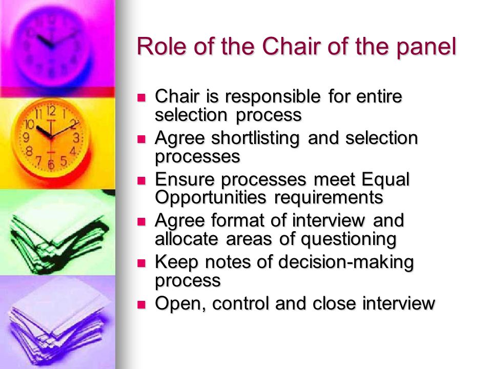 Role of the Chair of the panel