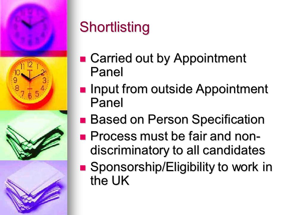 Shortlisting Carried out by Appointment Panel