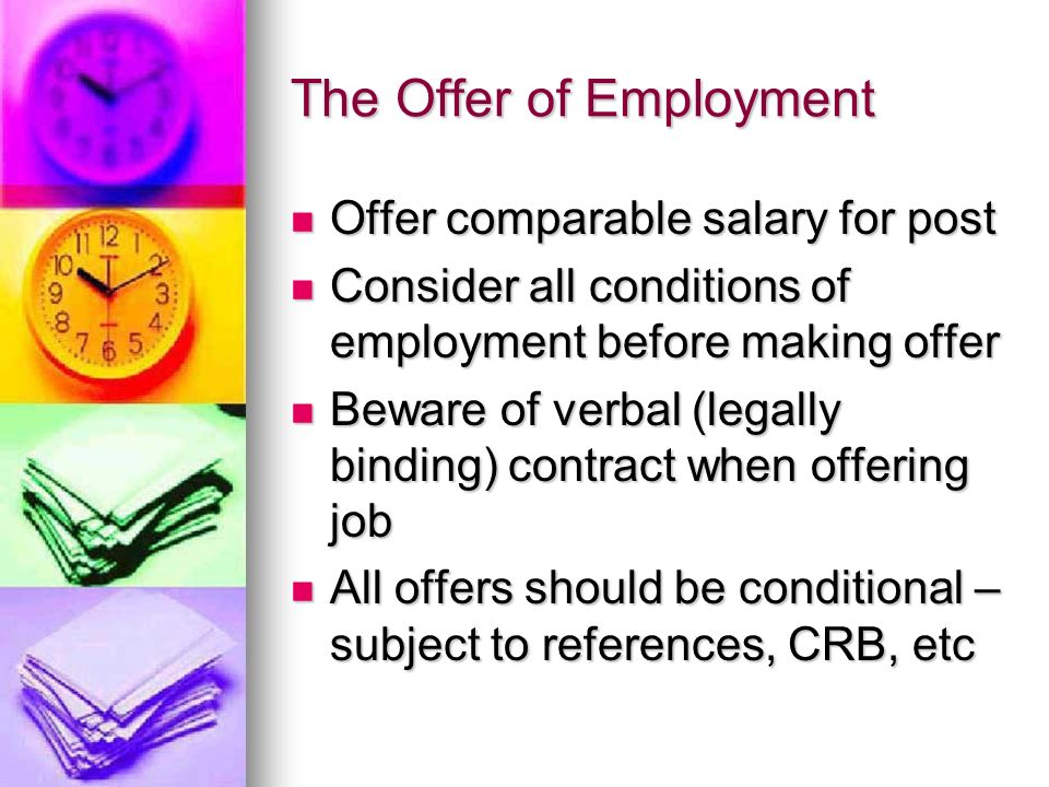 The Offer of Employment