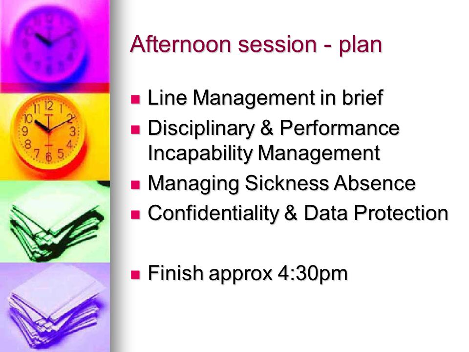 Afternoon session - plan