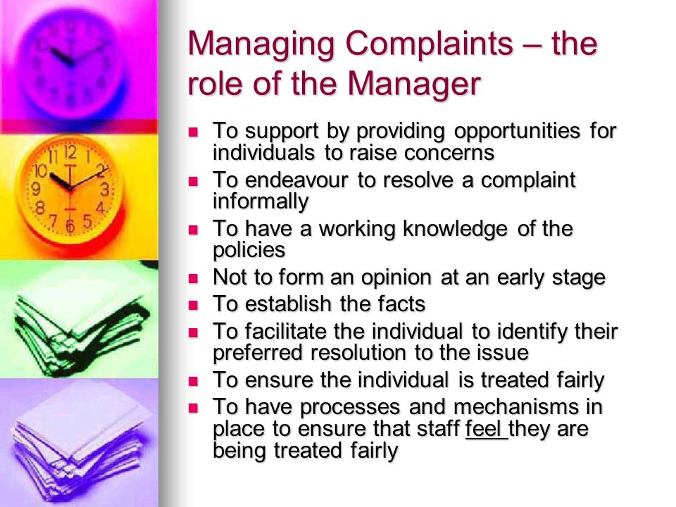 Managing Complaints – the role of the Manager
