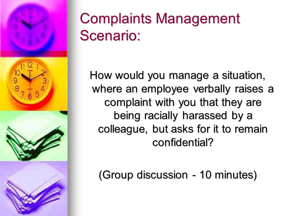 Complaints Management Scenario: