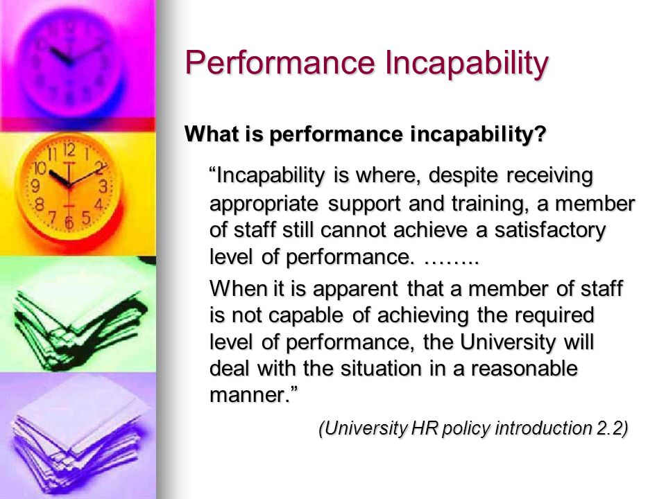 Performance Incapability