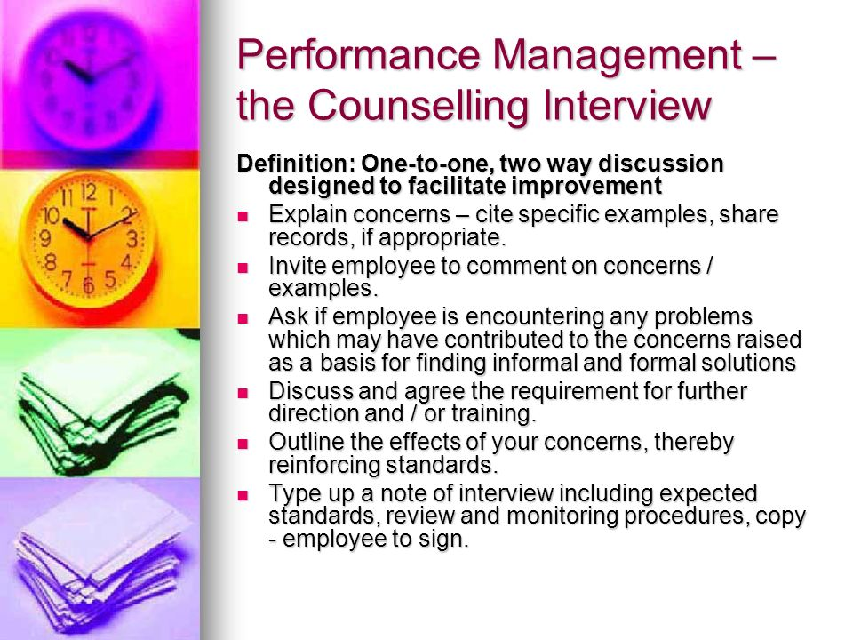 Performance Management – the Counselling Interview
