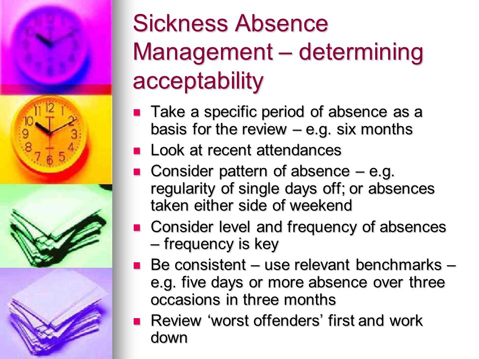 Sickness Absence Management – determining acceptability