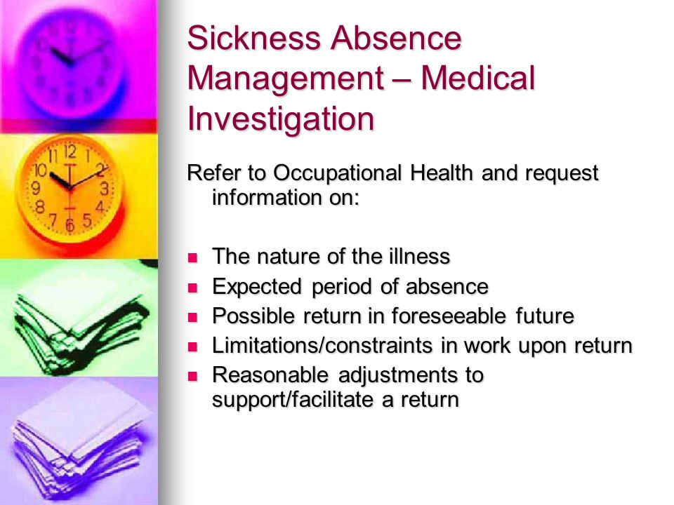 Sickness Absence Management – Medical Investigation