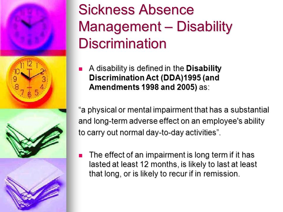 Sickness Absence Management – Disability Discrimination