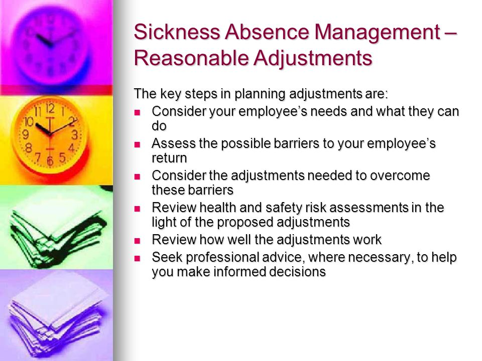 Sickness Absence Management – Reasonable Adjustments