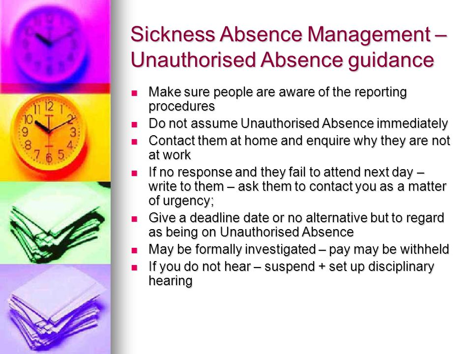 Sickness Absence Management – Unauthorised Absence guidance