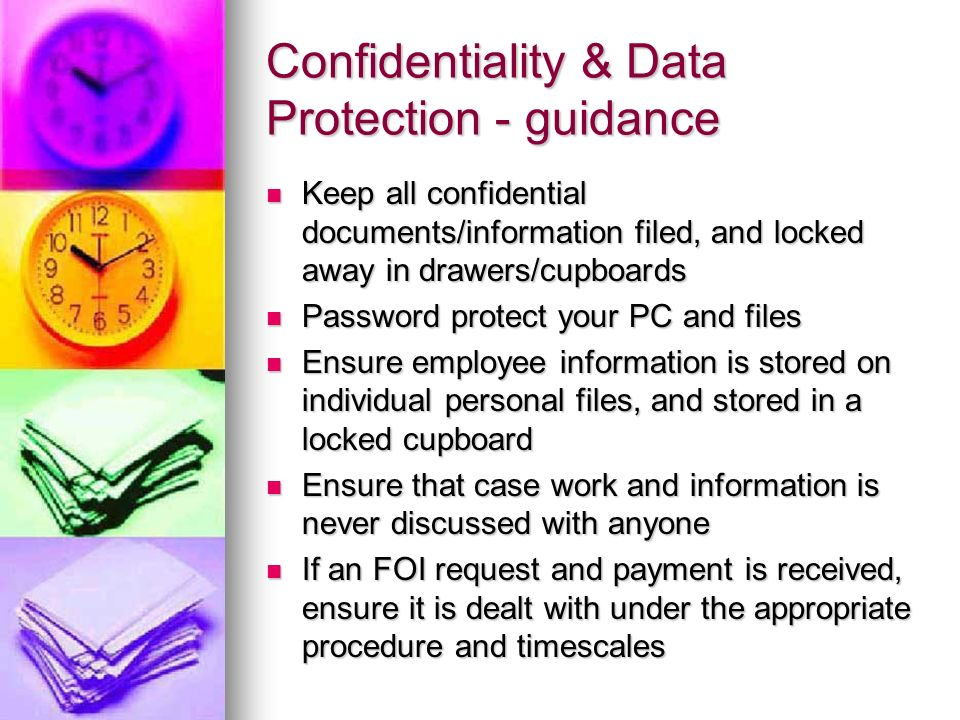 Confidentiality & Data Protection - guidance