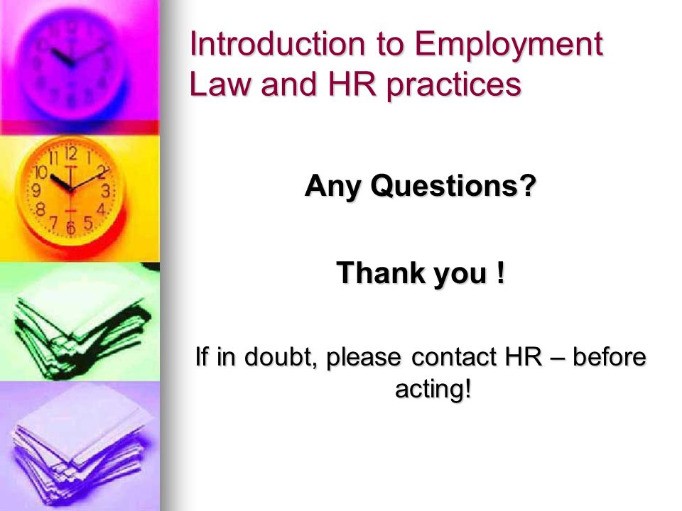 Introduction to Employment Law and HR practices